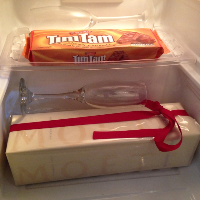 Prepping the fridge for James' arrival. Just the essentials...