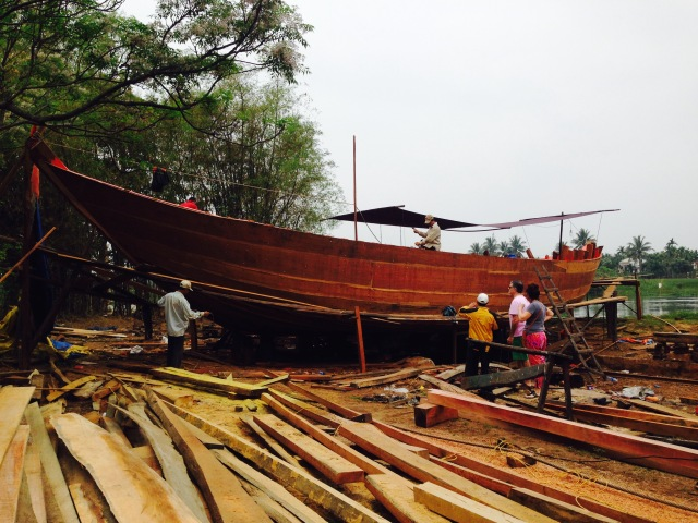 At a boat building yard outside Hoi An