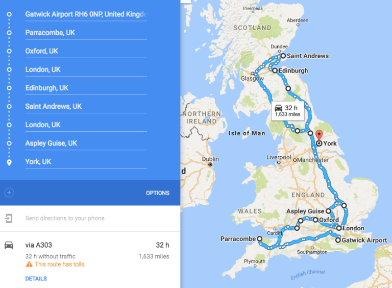 The route got too long for Google!