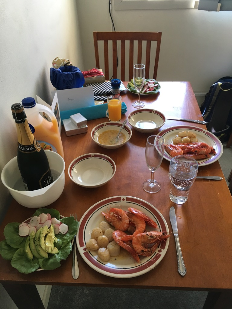 Alternative Christmas lunch...prawns, scallops, avo salad, and a HEAP of garlic butter :P